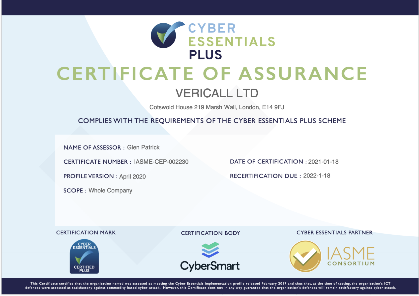 VeriCall is awarded Cyber Essentials Plus Certificate of Assurance