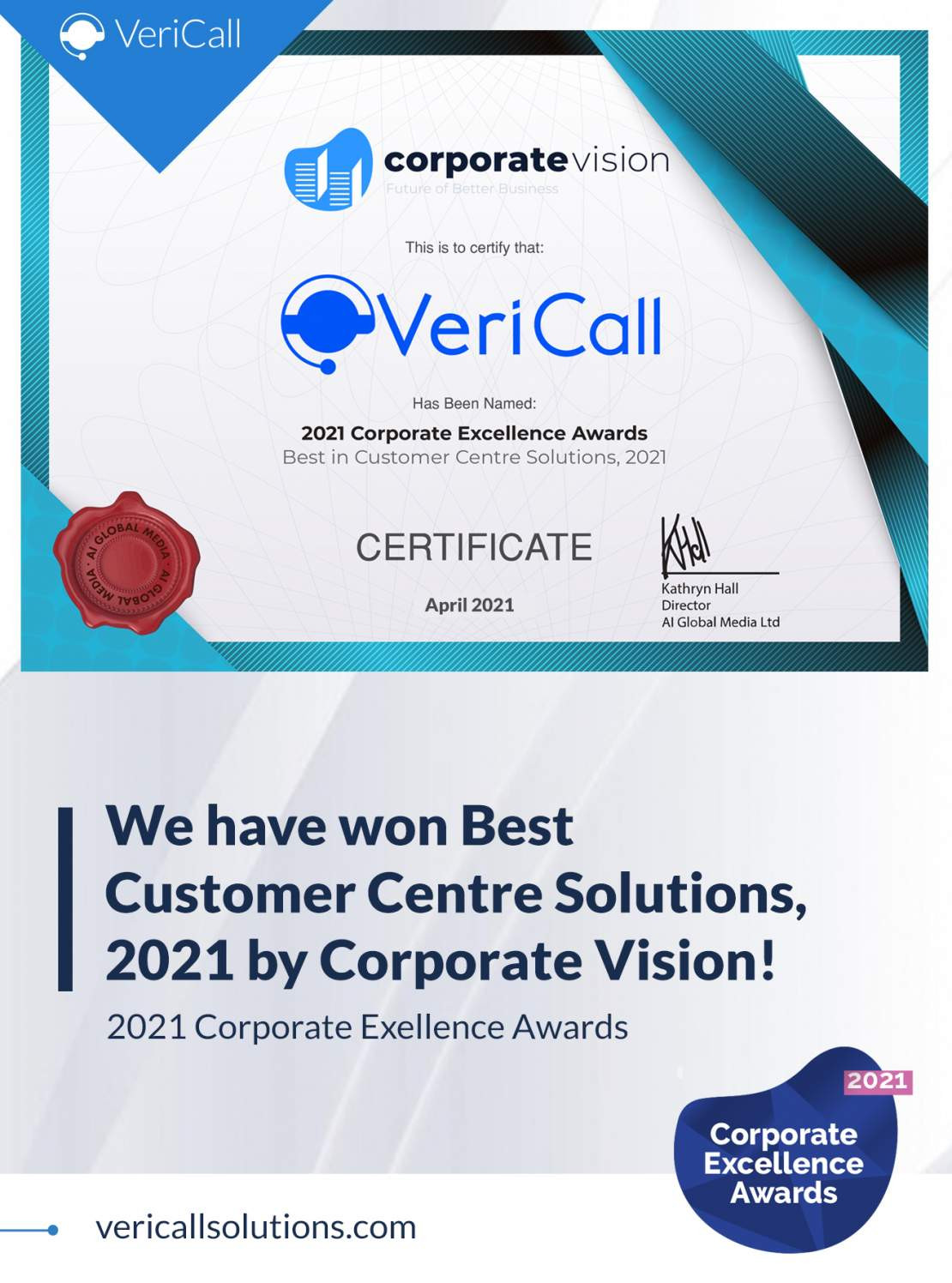 VeriCall Wins Best  In Customer Centre Solutions Award in AI Global Media's 2021 Business Elite Awards